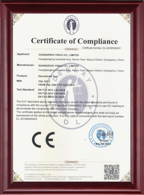 CE Certificate Of Educational Toys