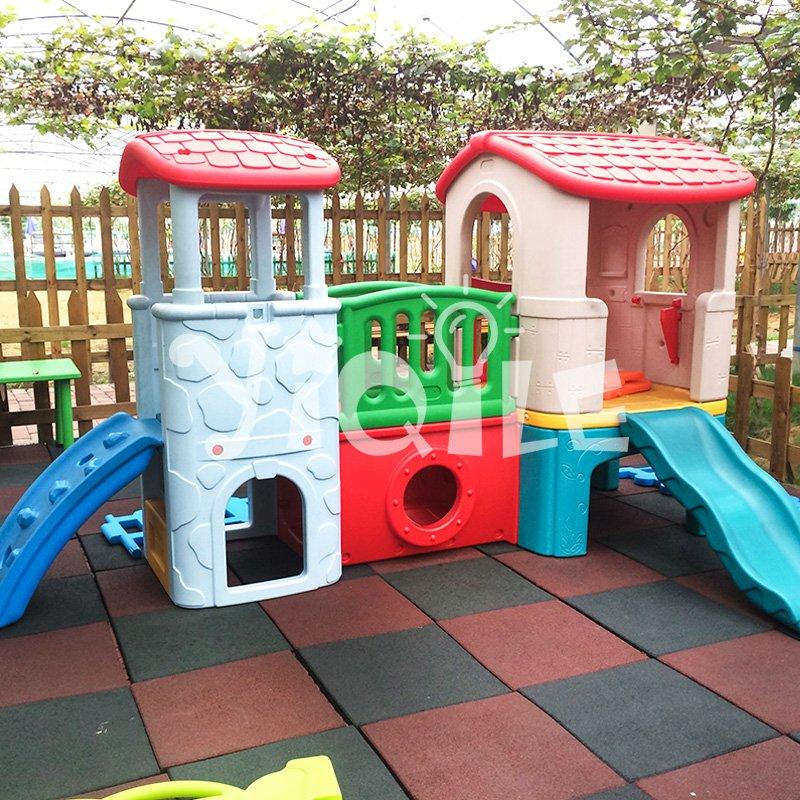 global hot sale colorful style plastic outdoor kids playhouse with slide